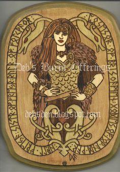 freya goddess | Freya Norse Goddess Wood Plaque Pyrography