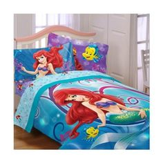 Disney Little Mermaid 5pc Shimmer and Gleam Full Bedding Comforter and Sheet Set //Price: $131.82 & FREE Shipping //     #bedding