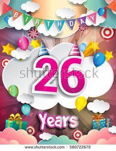 26th Birthday Celebration greeting card Design, with clouds and balloons. Vector elements for the celebration party of twenty six years anniversary