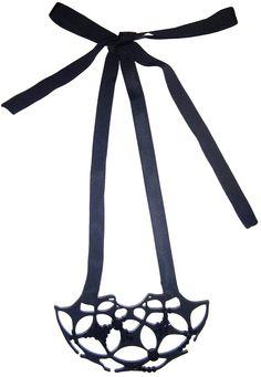 NIGHT STAR 3 Black plexiglass necklace with Swarovski crystal. Size: 16X9 cm Handmade 100% made in Italy  NIGHT STAR 3  Collana in plexiglass nero lucido con copertina di carta velluto ricavata da taglio al laser con nastro di grosgrain e cristallo di Swarovski.  Dimensioni: 16x9 cm  Tutti i prodotti Shokoufeh Emadi sono fatti a mano Made in Italy