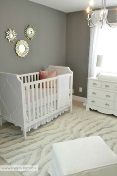 The Nursery Reveal from LiveLoveDIY.LOVE these nursery ideas for baby girls room! Baby Room Decor, Nursery Room, Girl Nursery, Girl Room, Nursery Ideas, Room Ideas, Baby Rooms, Cribs, Master Bedroom