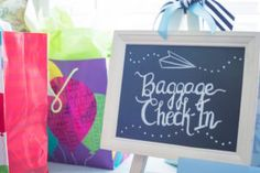 Baggage Check-In gift table from a Time Flies Vintage Airplane 1st Birthday Party on Kara's Party Ideas | KarasPartyIdeas.com (24)