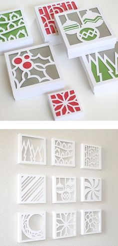 Clever diy...use small artist canvases, trace a design on the back and cutout , add colored paper or transparent paper
