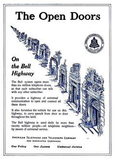 Bell System advertisement in Western Electric News March 1912 promoting universal service - Bell System - Wikipedia New March, Door Opener, Software, Electric, News