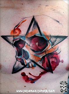 Skull tattoo by Julian Oh - Skullspiration.com - skull designs, art, fashion and more