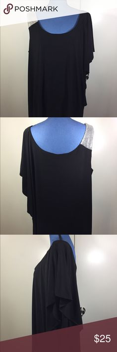 "Sleeveless Batwing Dress Black Sequins Size 20W Dress barn Collection Cute Black Dress.  Pit to Pit 24"" and Length 32"".  No zipper.  Comes from a smoke free home.  Sorry no modeling or trades.  OPEN TO OFFERS 😀! Dress Barn Dresses"