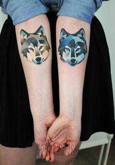 Татуировка: Волки #рисунок_на_теле #тату #татуировка #волк #эскиз #арт