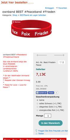 FRIEDEN Jetzt bestellen das Friedens-Armband von ownband.de und ein Zeichen setzen. #Frieden #ownband #Armband #jetzt bestellen