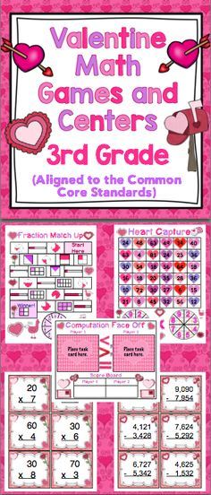 Valentine's Day Math Games 3rd Grade) Your students will love this collection of Valentine's Day themed math games! $