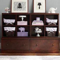 Storage Furniture - 2 Drawer Base & 2 Cubby System | Pottery Barn Kids - kids room storage, espresso stained kids storage, cubby and drawer kids storage, kids room storage system,