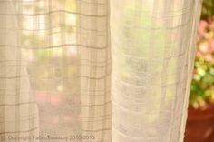 Sheer Cotton Curtain Fabric. Unbleached Cotton by FabricTreasury