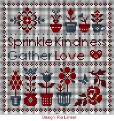 Design: Ria Lanser Sprinkle Kindness Gather Love heart flowers cross stitch chart