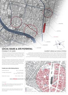 The local issue / site potential was illustrated through mapping out possibilities of the site in terms of users. How the surroundings of the site would interact with the program proposed.