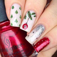29 Festive Christmas Nail Art Ideas: #3. BAUBLE AND TREES CHRISTMAS NAILS; #christmas; #nailart