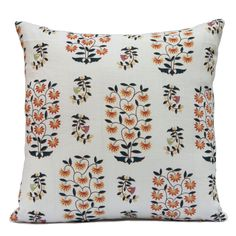 """Off White Pillow Cover.  Size: 18""""x18"""" Fabric: Linen with floral pattern. Visit https://www.etsy.com/shop/SHPillows?ref=l2-shopheader-name to see the rest of our collection. Thank you!!"""