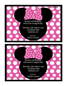 Minnie Mouse Birthday Invitation. Please click on picture to purchase