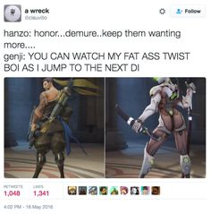 nice blog & good vibes Overwatch Hanzo, Overwatch Comic, Overwatch Memes, Best Memes, Funny Memes, Hilarious, Shimada Brothers, Lol League Of Legends, Cool Sketches