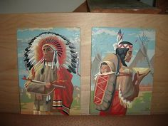 VINTAGE PAINT BY NUMBERS (PAIR) - INDIAN CHIEF AND SQUAW