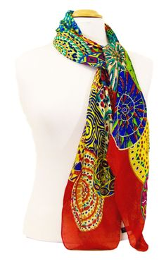 foulard carré de soie rouge mandalas 105 x 105 cm