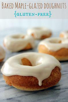 Baked Maple-Glazed Doughnuts - gluten free!  From http://www.agirldefloured.com/