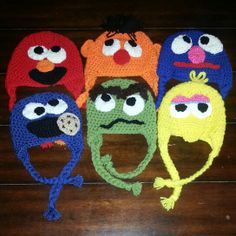 Can you tell me how to get?  Crochet Elmo, Ernie, Grover,  Cookie Monster,  Oscar,  Big Bird hats