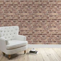 Original Brick Wallpaper on back wall instead of red paint