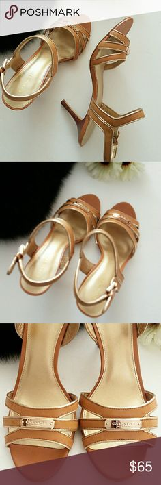 Coach Heeled Sandals Authentic leather with pale rose gold trim. Wood clad 3in. heel. Functional buckle for custom fit. EUC w/minor general use wear to soles. Coach engraved metal like plate on toe straps. *Ask Questions B4 U Buy!* Coach Shoes Heels