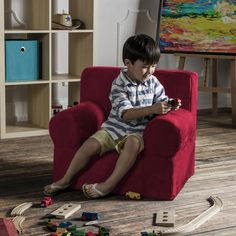 Give your kids a super-comfy seating option with a chair that is made to look like authentic living room furniture. The Jaxx Julep Kids Arm Chair has a unique shape and design that makes it a wonderful space for kids to read and relax. You won't have to worry about rough edges because this durable, fun-sized chair is crafted from 100% lightweight, high-density foam and offers hours of comfort and support.