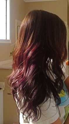 Brown hair to Plum hair  I would love to do that! to my hair next!!!