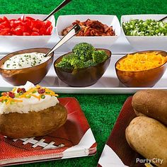 Baked potatoes make fanrageous football party food grab a spud, add some toppings, then chow down. Football Party Foods, Football Food, Football Fever, Baked Potato Bar, Baked Potatoes, Banquet, Party Food Bars, Party Snacks, Game Day Food