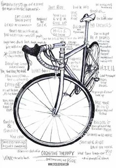 Time spent on the bike clears the head, solves problems and is beneficial to mental & physical health. Here's just a few of our cycling mantras.Our t shirts are screen printed using water based inks giving the print a soft feel Cycling T Shirts, Cycling Wear, Road Cycling, Cycling Bikes, Cycling Outfit, Cycling Jerseys, Road Bike, Cycling Motivation, Cycling Quotes