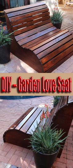 This slatted garden bench makes the perfect garden love seat. Marine plywood is a better option than laminated pine, which may split along the seams over #GardenBench #DiyBench #diy #woodworking