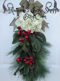 CHRISTMAS DOOR SWAG , Wreath Alternative Decor , Christmas Wreath , Christmas Swag , Holiday Wreath , Holiday Decor , Seasonal by AutumnsEchoShoppe on Etsy