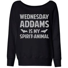 Wideneck Wednesday Addams is my Spirit Animal (White) Halloween... ($35) ❤ liked on Polyvore featuring tops, hoodies, sweatshirts, lullabies, shirts, oversized tops, sweat shirts, slouchy oversized sweatshirt, oversized white top and animal sweatshirts