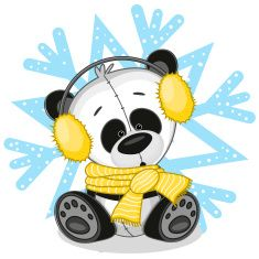 Panda Cub and Snowflake with Yellow Ear Muffs & Scarf...adorable <3