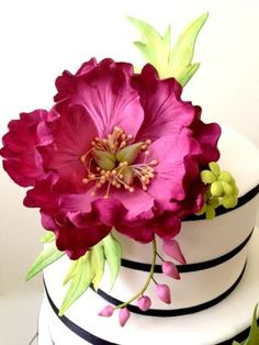 Fuschia themed Wedding Cake with Peonies sugarflower