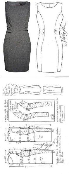 Vestido tubinho com recorte drapeado na lateral | DIY - molde, corte e costura - Marlene Mukai