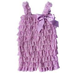 TIAOBU US Baby Girls Summer Spaghetti Ruffle Tiered Romper Purple Size 3-12…