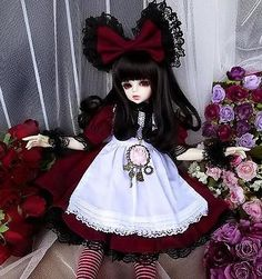 gothic doll outfits | ... Dal.Pullip.BJD.SD LUTS MSD Doll white WINE RED LOLITA doll CLOTHES