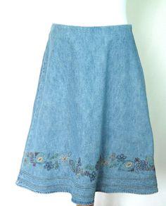 Christopher & Banks A Line Denim Skirt Embroidered Beaded Knee Length Size 10 #ChristopherBanks #ALine