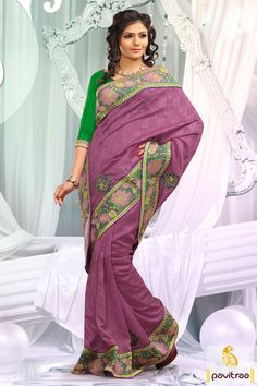 Olive pink designer party wear Saree which is embroidered, resham worked and lace patti worked. The finest bhagalpuri and dhupion made beautiful attire.