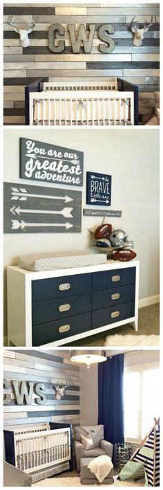 Looking for a unique nursery idea? Your friends will go ga-ga over a wood accent wall with metallic highlights. Accessorize with eclectic art in navy, gray and silver...and voila! Rustic meets modern in this baby boy bedroom.
