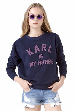 Eleven Paris - Karl Is My Father - FAMY Jumper Sweatshirt in Navy. Women's Collection. Shipping to North America, USA, Canada and Mexico.