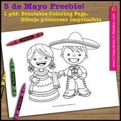 May 5th Freebie, China Poblana and Charro, traditional mexican outfits, coloring page. // Página para colorear del 5 de mayo