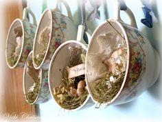 Create a little scene inside a teacup! These have a spring motif. http://vickichrisman.blogspot.com/2012/03/pretty-little-springy-tea-cups.html