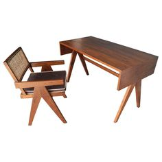 Pierre Jeanneret Desk and Chair from the College of Architecture, Chandigarh, circa 1955 Wooden Dining Room Chairs, Outdoor Dining Chair Cushions, Desk Chairs, Office Chairs, Side Chairs, Lounge Furniture, Furniture Upholstery, Modern Furniture, Furniture Design