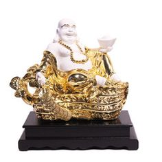 Marble look with Colored Electroplating Polystone  Laughing Buddha - 12 Inch