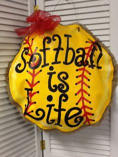 Softball is Life Burlap-Vinyl Hand Painted Wall/Door Decor. Softball Room, Softball Crafts, Softball Stuff, Softball Things, Softball Quotes, Fastpitch Softball, Burlap Projects, Burlap Crafts, Craft Projects