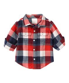 This Roaring Red Plaid Flannel Button-Up - Infant & Toddler is perfect! #zulilyfinds