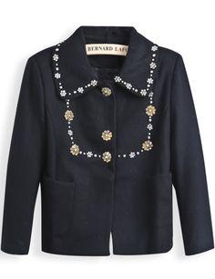 Black Lapel Long Sleeve Rhinestone Pockets Coat US$37.05